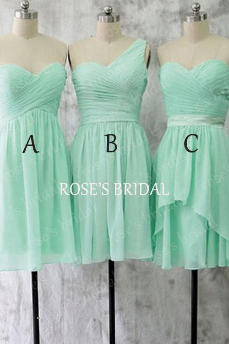 Mismatch Short Mint Green Bridesmaid Dresses, Chiffon Bridesmaid Dress, Wedding Party Dresses, Cheap Bridesmaid Dress, Junior Bridesmaid Dress, Bridesmaid Dresses 2016