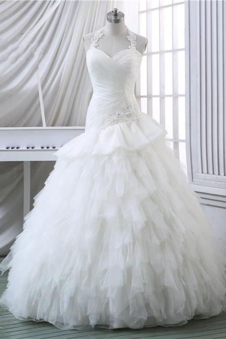 Wedding Dress,2015 Wedding Dress,Halter Wedding Dress,Sweetheart Wedding Dress,Lace Wedding Dress,Ruffles Organza Wedding Dress,Lace-up Wedding Dress,Sleeveless Wedding Dress,Bride Dresses