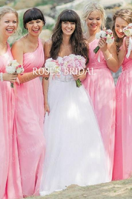 One Shoulder Pink Long Bridesmaid Dress, Cheap Bridesmaid Dresses, Dresses For Weddings, Chiffon Bridesmaid Dresses, Custom Made Bridesmaid Dress