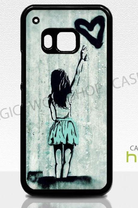 HTC One M8 M9 Case, Girl With Heart, Graffiti, Stencil