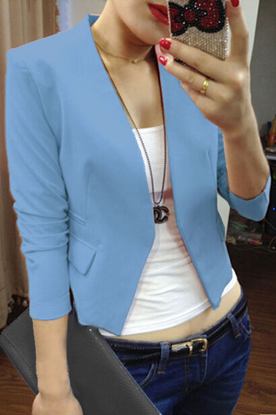 Fashion Blue Polyester Blazer