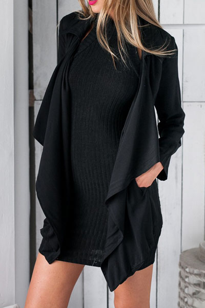 Sexy Turndown Collar Long Sleeves Black Blending Long Trench Coat