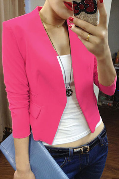 Fashion Long Sleeves Rose Polyester Blazer