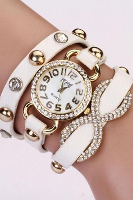 Dress luxury rhinestones white prom woman watch