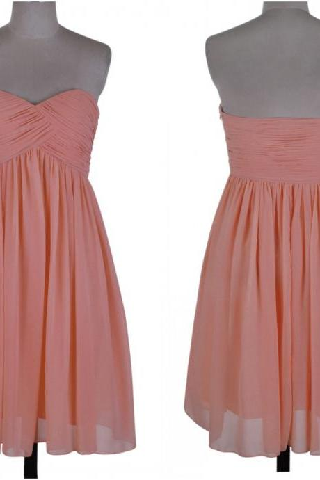 Cheap Peach Bridesmaid Dresses Chiffon Sweetheart Sleeveless Short Prom Dress Evening Party Dresses Homecoming Dresses Cocktail Dress Formal Dress
