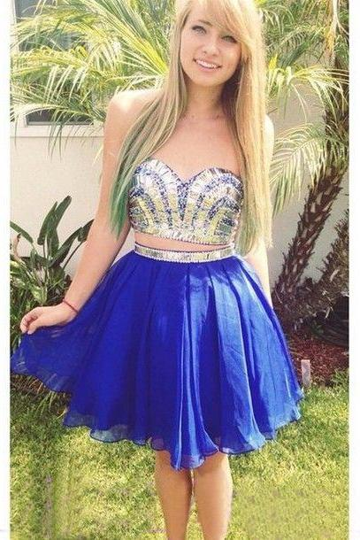 short prom dress, blue prom dress, junior prom dress, dresses for girls, cocktail dress, homecoming dress, two pieces prom dress, 1418