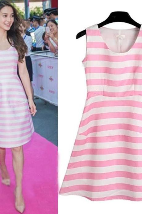2015 hot sale Colorful Blue and Pink Strip Sleeveless Dress for women