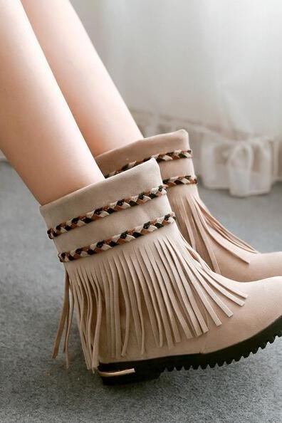 Tassel boots, round head higher in short boots, boots, sweet woman