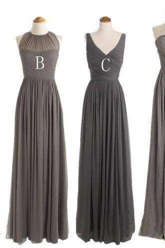 long bridesmaid dress, grey bridesmaid dress, chiffon bridesmaid dress, cheap bridesmaid dress, mismatched bridesmaid dress, 1425