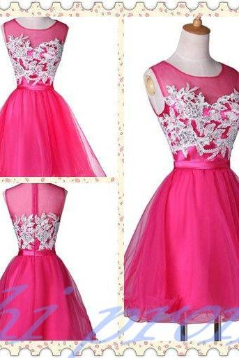 Hot Pink Homecoming Dress,Short Prom Dresses,Tulle Homecoming Gowns,Lace Prom Gown,Simple Cocktail Dress,Princess Sweet 16 Dress 2015 For Teens