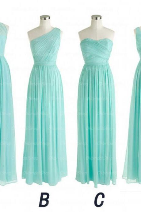 long bridesmaid dress, tiffany blue bridesmaid dress, chiffon bridesmaid dress, cheap bridesmaid dress, mismatched bridesmaid dress, 1426