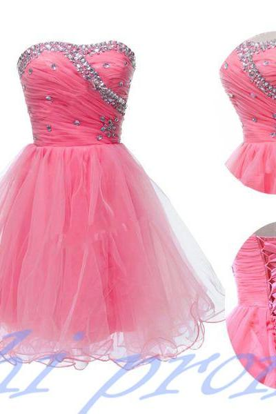 Pink Homecoming Dress,Short Prom Dresses,Tulle Homecoming Gowns,Strapless Prom Gown,Elegant Cocktail Dress,Fitted Sweet 16 Dress 2015 For Teens