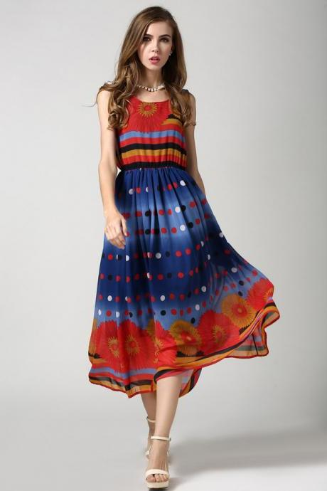 Colorful Polka Dot Flower Print Elastic Waist Sleeveless Summer Dress