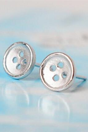 Sterling Silver Anti Allergy Buttons Earring