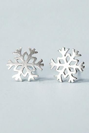 Sterling Silver Anti Allergy Snowflakes Earring