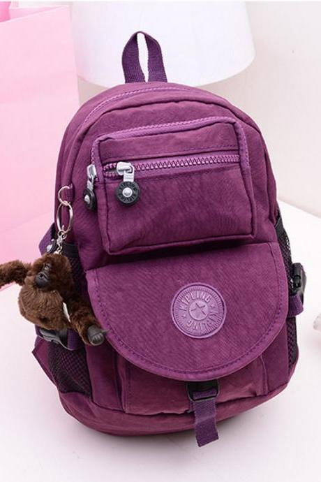 Female Nylon Canvas Shoulder Mini Travel Bag Backpack