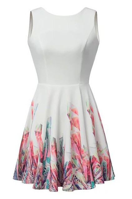 White Floral Print Sleeveless Skater Dress