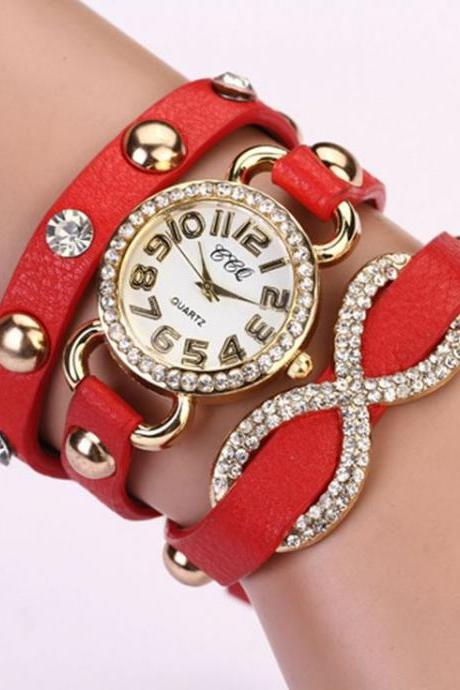 Dress Luxury Rhinestones Prom Red Woman Watch