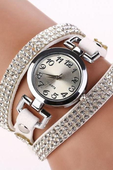 Rhinestones dress popular girl wrap white band watch