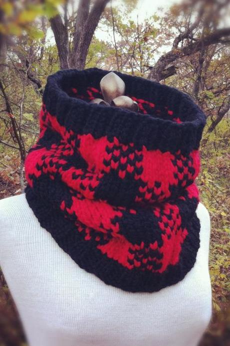 Buffalo Check Plaid Cowl - Red and Black