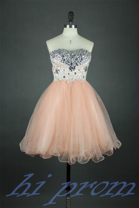 Light Blush Pink Homecoming Dress,Short Prom Gown,Tulle Homecoming Gowns,Party Dresses,Cocktail Dress,Short Prom Dresses,Strapless Homecoming Dresses For Teens