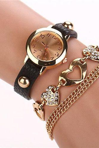 Dress fashion heart pendant black band woman watch