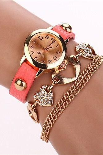 Dress fashion heart pendant pink band woman watch