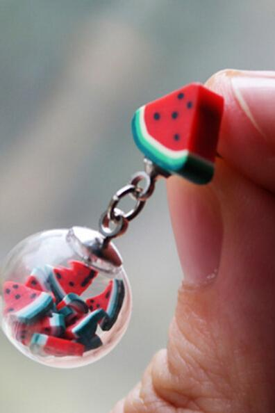 Earrings--Transparent glass fruit bubble Earrings