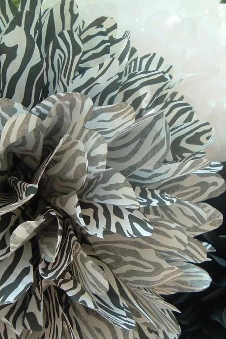 Zebra, White, Black paper pom. Set of 3
