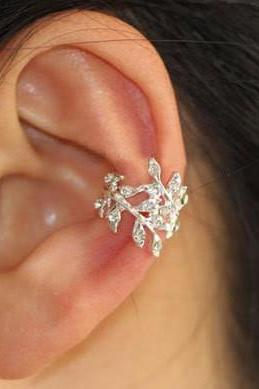 GLITTERING LEAVES RHINESTONE EAR CUFF (SINGLE, NO PIERCING)
