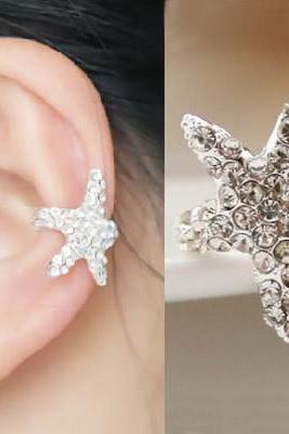 SPARKLY STARFISH RHINESTONE EAR CLIP (SINGLE, NO PIERCING)