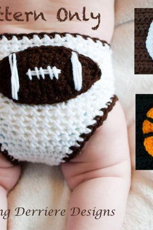 Sports Diaper Cover with Baseball, Basketball, and Football Crochet Pattern