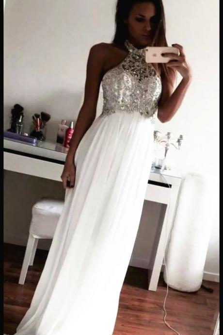 Sexy Beading Prom Dresses, Floor-Length Evening Dresses, Prom Dresses 2015 On Sale, Real Made Prom Dresses ,Ivory Prom Dress,The Charming White Prom Dress