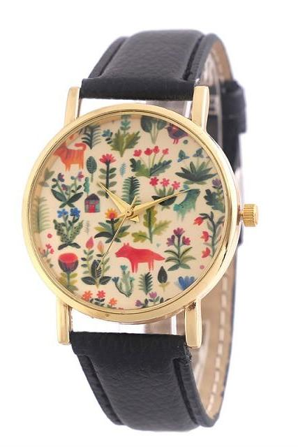 flower watch, flower leather watch, floral watch, leather watch, bracelet watch, vintage watch, retro watch, woman watch, lady watch, girl watch, unisex watch, AP00402