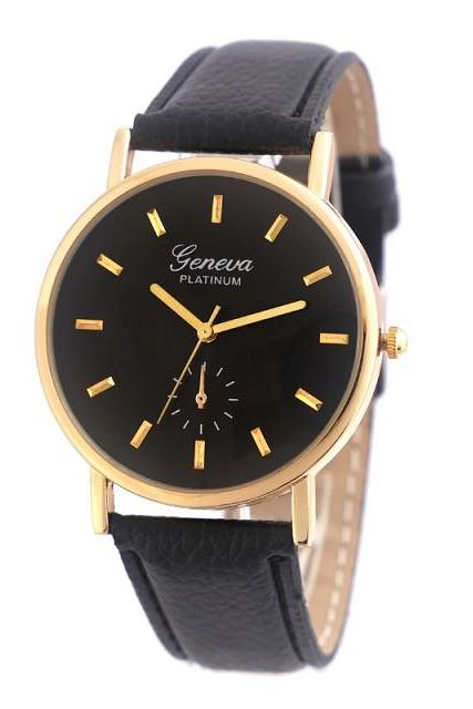 simple watch, black leather watch, leather watch, bracelet watch, vintage watch, retro watch, woman watch, lady watch, girl watch, unisex watch, AP00407