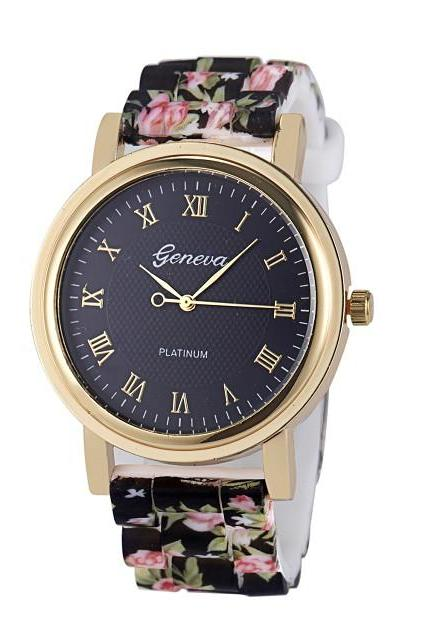 flower watch, floral watch, bracelet watch, vintage watch, retro watch, woman watch, lady watch, girl watch, unisex watch, AP00417