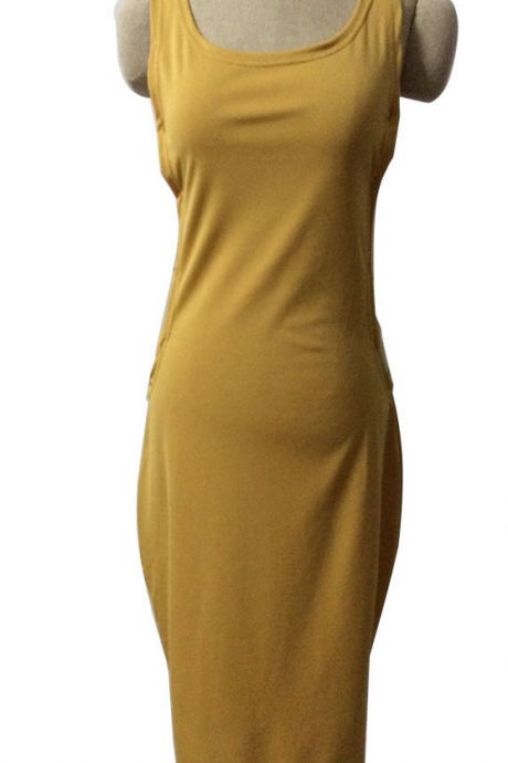 SEXY HOLLOW OUT YELLOW DRESS