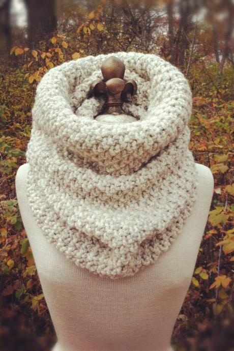 Oversized Chunky Cowl Snood Hood Scarf - Wheat