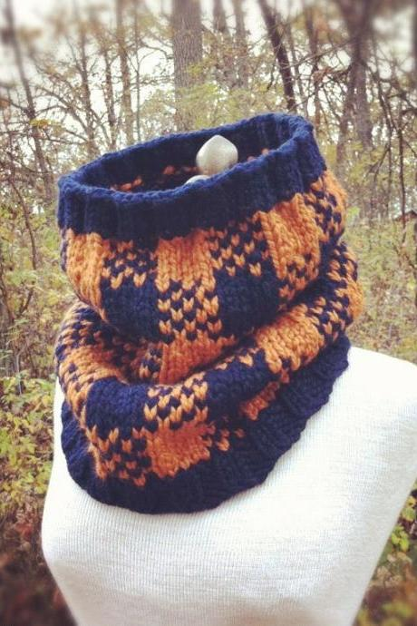 Buffalo Check Plaid Cowl - Navy and Apricot