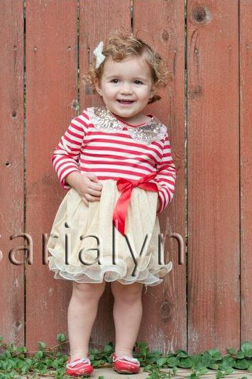 Red Stripe Dress Christmas Birthday Holiday Red Stripes Dress Outfit