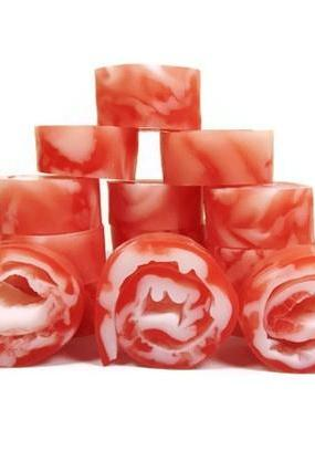 Peppermint Soap Rolls in Red White Swirls