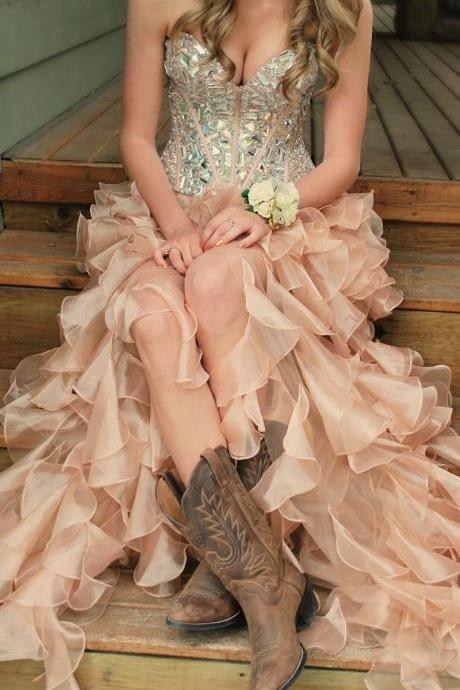 Pink High Low Prom Dresses, Evening Dresses 2015, Party Dresses, Formal Dresses ,Sexy Beading Prom Gowns,Chiffon Evening Gowns