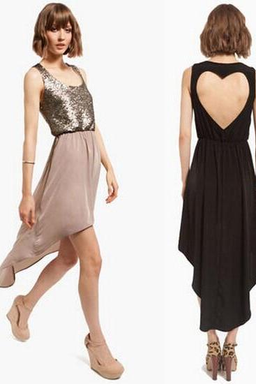 hot sale Fashion Back Heart-shaped Stitching Sequins Chiffon Dress