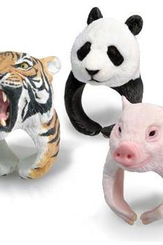 Hot sale Super Cute PVC 3D Animal-shaped Tiger Panda Polar Bear Hedgehog Ring