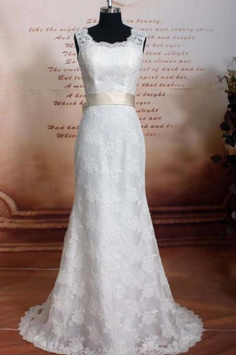 Modest elegant vintage lace long mermaid sheath open back wedding dress with champagne belt bridal gown dresses for bride evening dress wedding gown