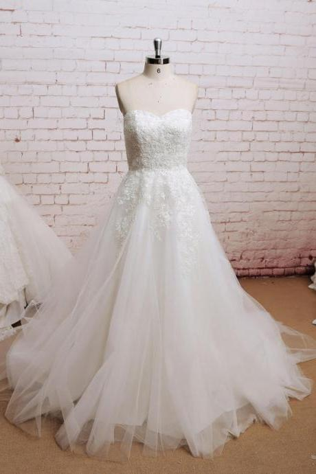 Strapless empire waist bubble ruffled pleated lace tulle simple cheap plus size wedding dress bridal gown dresses for bride evening dress wedding gown
