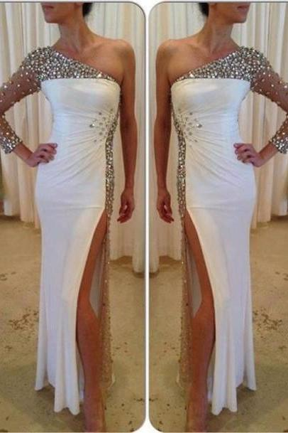 One Shoulder Floor-Length Charming Prom Dresses,Sheath Beading Floor-Length Evening Dresses, Prom Dresses, Real Made Halter Prom Dresses On Sale,