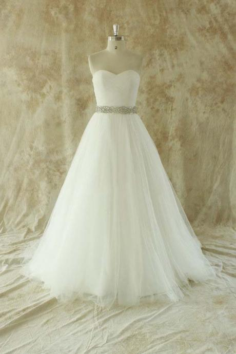 Sweetheart simple cute romantic long fall winter beaded crystal cheap tulle white wedding dress bridal gown dresses for bride evening dress wedding gown