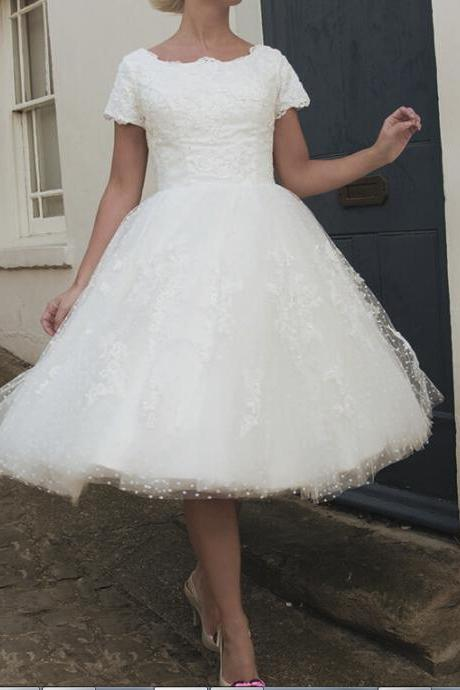A-Line Wedding Dresses Short Tea Length Swiss Dot Tulle and Lace 1950s Wedding Dress House of Mooshki