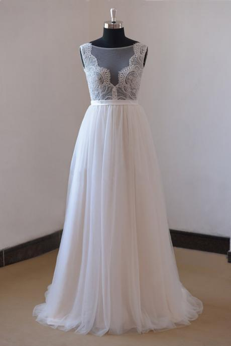 See-through sexy deep v neck lace tulle long a-line button up open back beach wedding dress bridal gown dresses for bride evening dress wedding gown